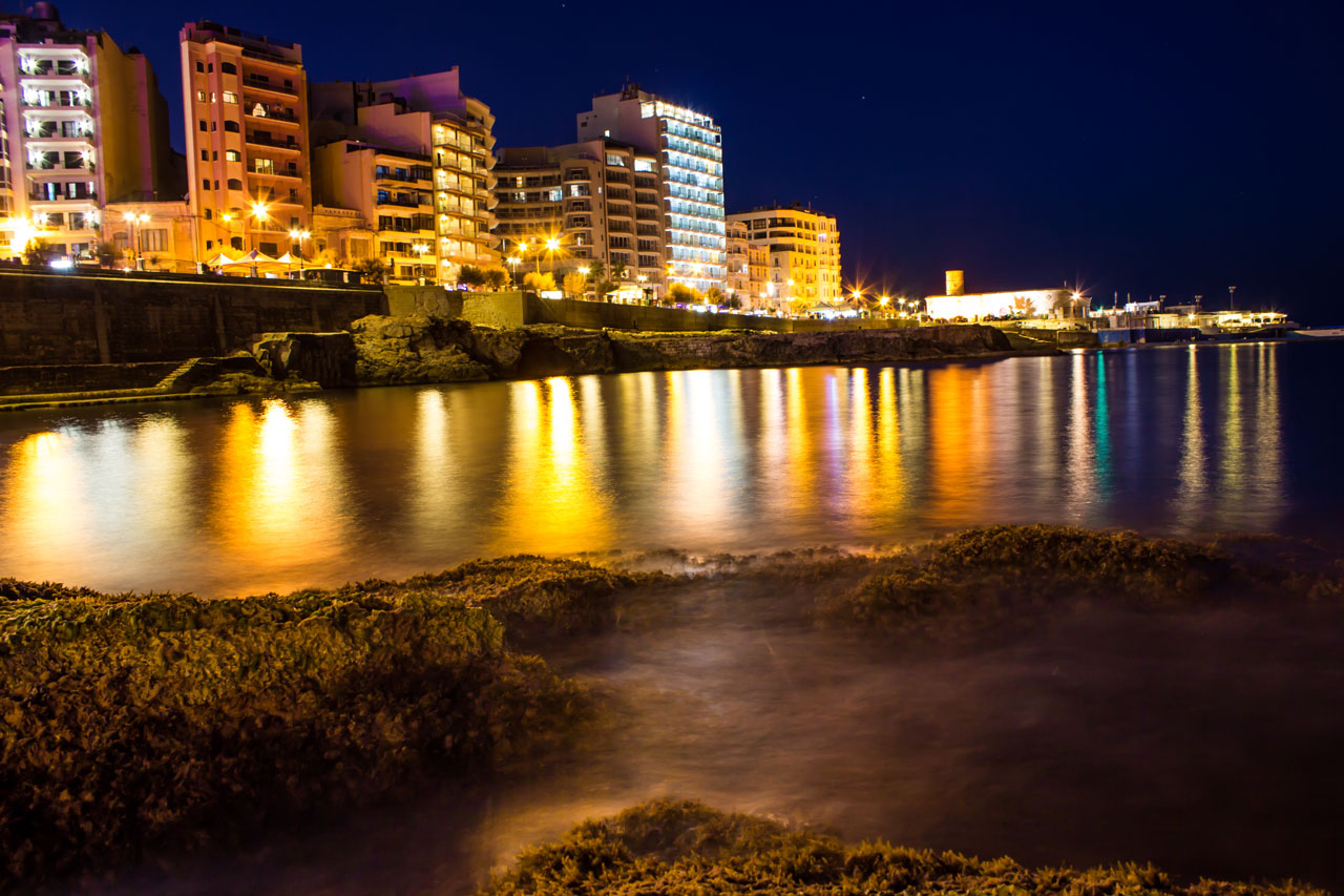 Sliema Seafront at night