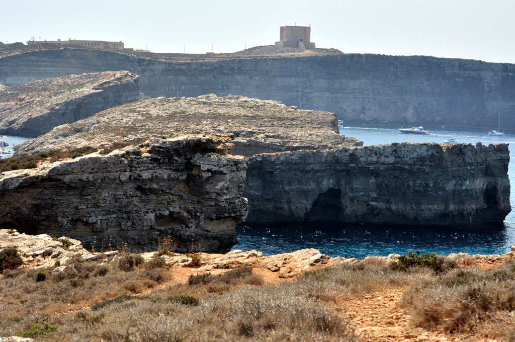 View of Santa Marija Tower and Comino Cliffs